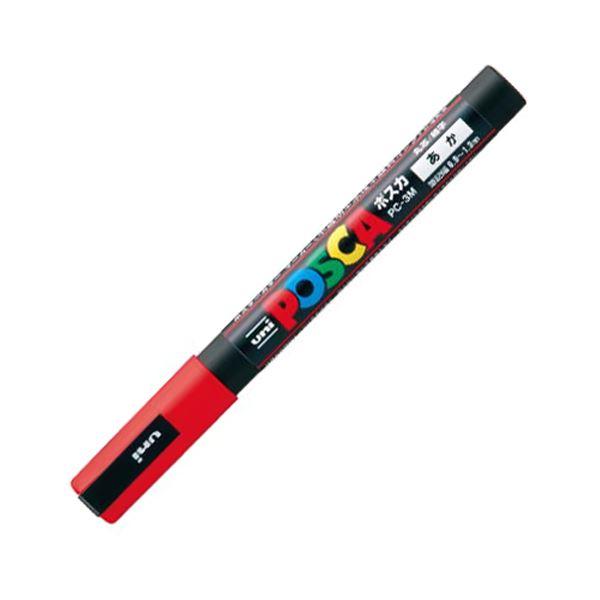 (まとめ) 三菱鉛筆 水性マーカー ポスカ 細字丸芯 赤 PC3M.15 1本 【×50セット】