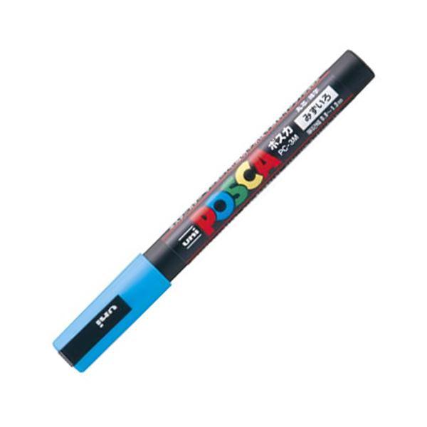 (まとめ) 三菱鉛筆 水性マーカー ポスカ 細字丸芯 水色 PC3M.8 1本 【×50セット】