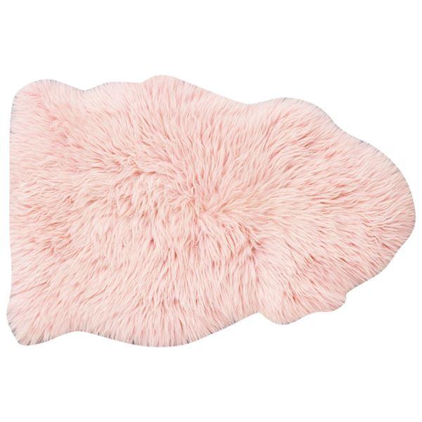 ムートンラグ/絨毯 【約60cm×90cm ピンク】 羊毛皮100% 『ふわふわムートンフリースラグ』 〔リビング ソファー〕