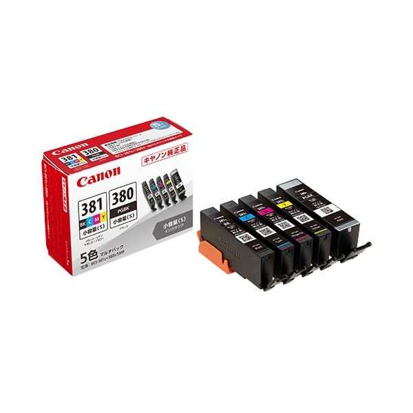 (まとめ)キヤノン インクタンクBCI-381s+380s/5MP 5色マルチパック(小容量) 2344C003 1箱(5個:各色1個)【×3セット】