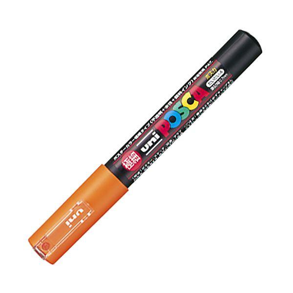 (まとめ) 三菱鉛筆 水性マーカー ポスカ 極細 橙 PC1M.4 1本 【×50セット】