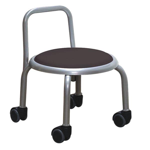スタッキングチェア/丸椅子 【同色3脚セット ブラック×シルバー】 幅32cm 日本製 『背付ローキャスターチェア ボン』【代引不可】