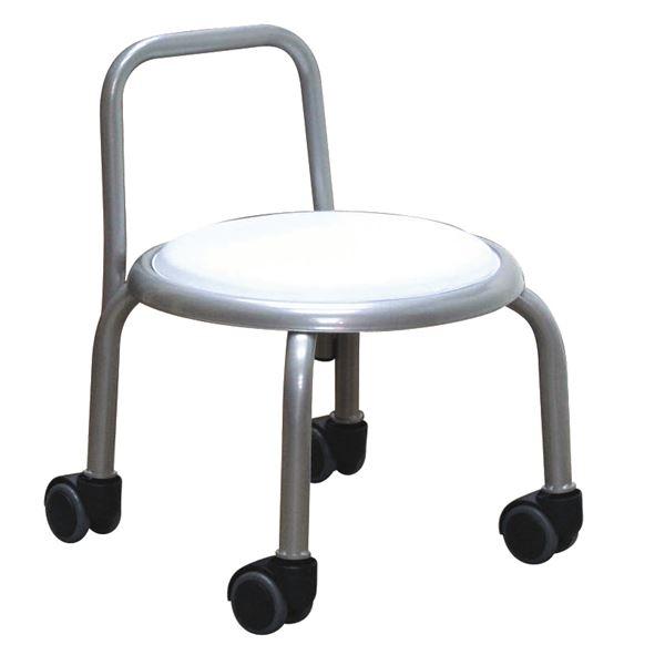 スタッキングチェア/丸椅子 【同色3脚セット ホワイト×シルバー】 幅32cm 日本製 『背付ローキャスターチェア ボン』【代引不可】