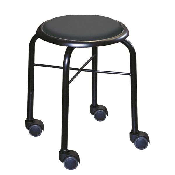 スタッキングチェア/丸椅子 【同色4脚セット ブラック×ブラック】 幅32cm 日本製 スチールパイプ 『キャスタースツール ボン』【代引不可】
