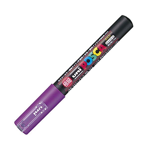 (まとめ) 三菱鉛筆 水性マーカー ポスカ 極細 紫 PC1M.12 1本 【×50セット】