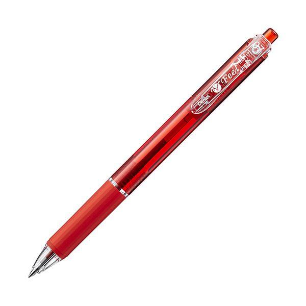 (まとめ) ぺんてる 油性ボールペン ビクーニャフィール 0.7mm 赤 BXB-117B 1本 【×100セット】