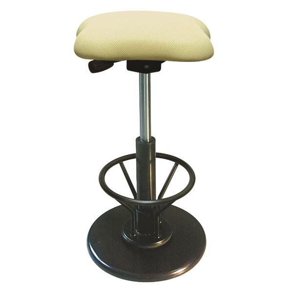 モダン スツール/丸椅子 【フットレスト付き アイボリー×ブラック】 幅33cm 日本製 『ツイストスツールラフレシア3R』【代引不可】