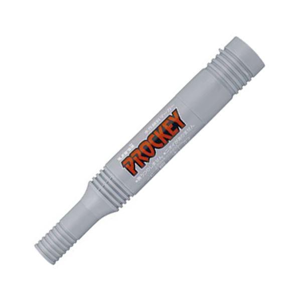 (まとめ) 三菱鉛筆 水性マーカー プロッキー詰め替えタイプ 太字角芯+細字丸芯 灰 PM150TR.37 1本 【×100セット】