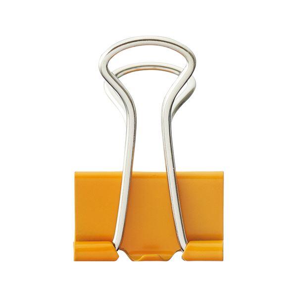 (まとめ) TANOSEE ダブルクリップ 中 口幅25mm オレンジ 1箱(10個) 【×100セット】