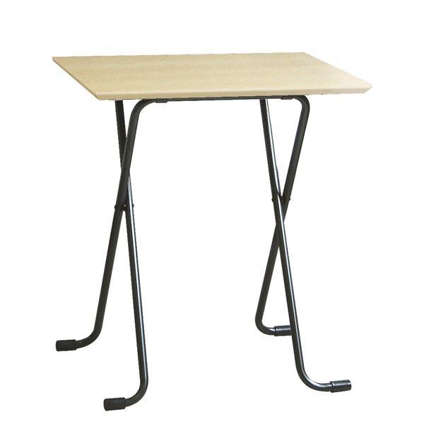 折りたたみテーブル 【角型 ナチュラル×ブラック】 幅60cm 日本製 木製 スチールパイプ 〔ダイニング リビング〕【代引不可】