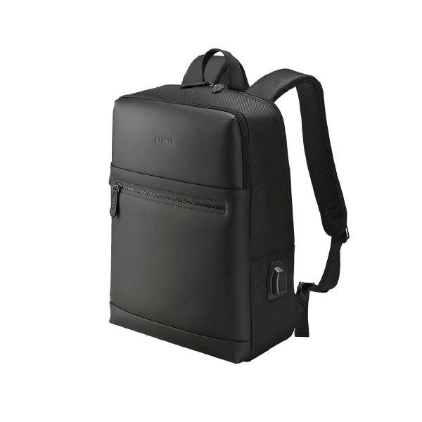 (まとめ)ウノフク USBボート付バッグパック 13-6074 黒【×5セット】