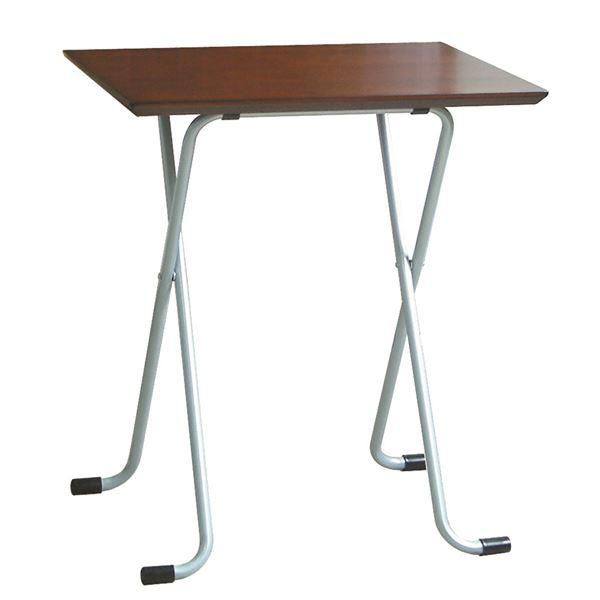 折りたたみテーブル 【角型 ダークブラウン×シルバー】 幅60cm 日本製 木製 スチールパイプ 〔ダイニング リビング〕【代引不可】