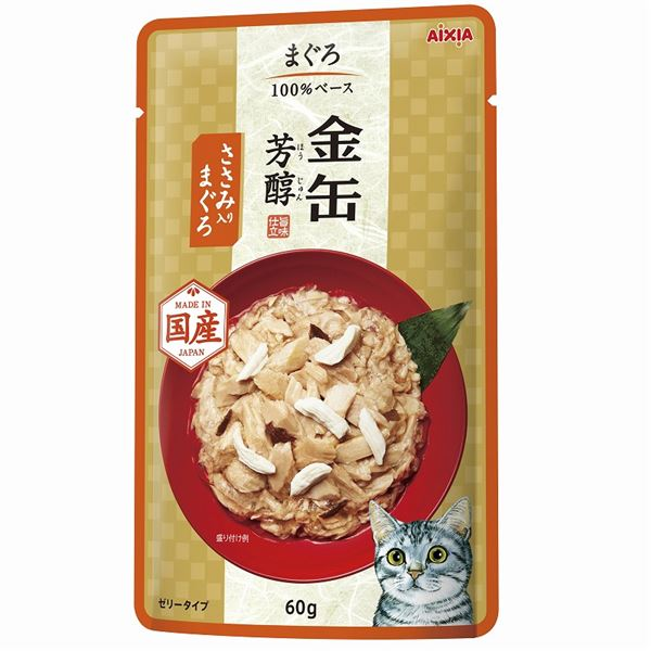 (まとめ)金缶芳醇パウチ ささみ入りまぐろ 60g【×96セット】【ペット用品・猫用フード】