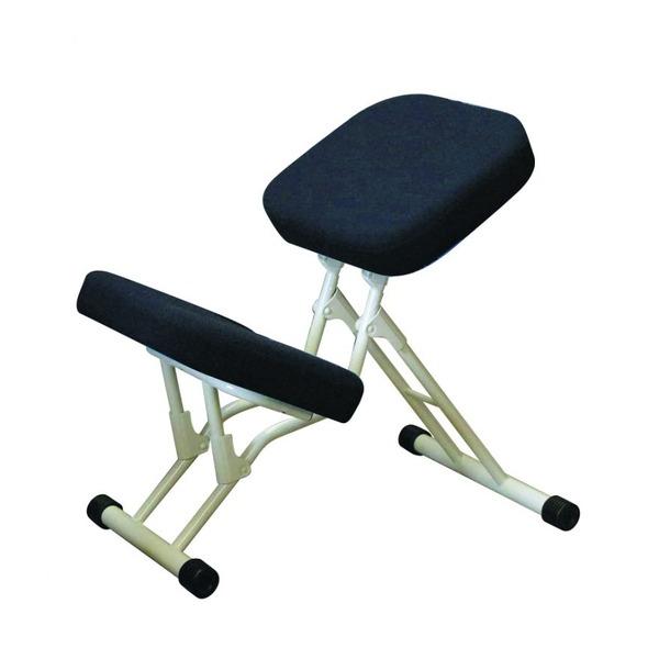 学習椅子/ワークチェア 【ブラック×ミルキーホワイト】 幅440mm 日本製 折り畳み スチールパイプ 『セブンポーズチェア』【代引不可】