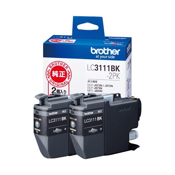 (まとめ) ブラザー インクカートリッジ ブラックLC3111BK-2PK 1箱(2個) 【×10セット】