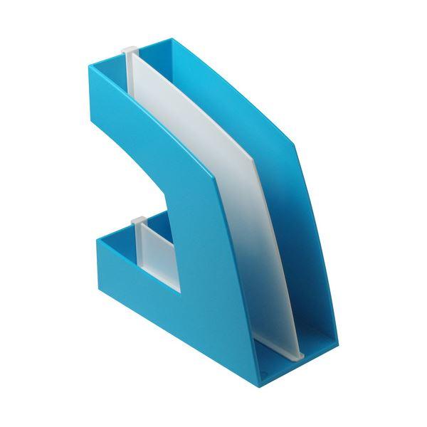 (まとめ) ソニック ファイルボックス 仕切板付 A4タテ 背幅107mm ライトブルー FB-708-LB 1個 【×10セット】