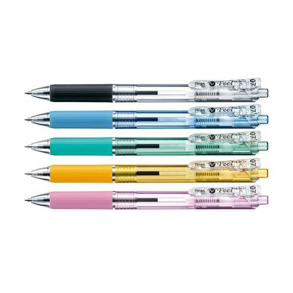 (まとめ) ぺんてる 油性ボールペン ビクーニャフィール 0.7mm 黒 カラー軸 アソート(5色各1本) BXB117-5 1パック 【×30セット】