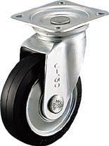 【シシク】シシク プレス製 ゴム車自在 300mm WJ300【キャスター/プレート式キャスター】【TC】【TN】