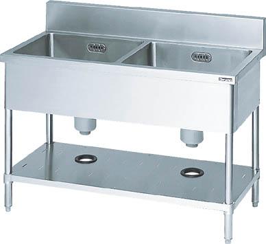 【取寄】【マルゼン】マルゼン 二槽シンク1500×600×800(ホース付) BS2156[マルゼン 厨房研究管理用品研究機器流し台]【TN】【TD】