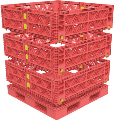 【TRUSCO】TRUSCO マルチステージコンテナ メッシュ 3段 1100X1100 赤 TMSCM1111R[TRUSCO パレットIG物流保管用品コンテナ・パレットパレット]【TN】【TC】
