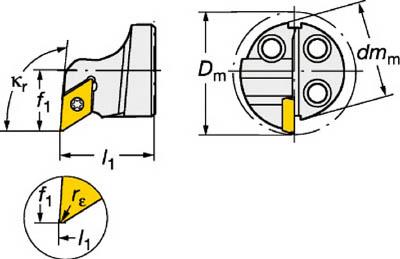 【サンドビック】サンドビック コロターンSL コロターン111用カッティングヘッド 570SDUPL2007[サンドビック ホルダー切削工具旋削・フライス加工工具ホルダー]【TN】【TC】