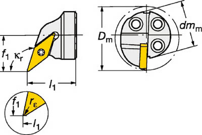 【サンドビック】サンドビック コロターンSL コロターン107用カッティングヘッド 570SVQCL2011E[サンドビック ホルダー切削工具旋削・フライス加工工具ホルダー]【TN】【TC】