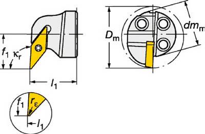 【サンドビック】サンドビック コロターンSL コロターン107用カッティングヘッド 570SVUCR2011E[サンドビック ホルダー切削工具旋削・フライス加工工具ホルダー]【TN】【TC】