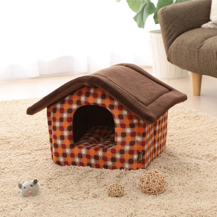 ハウス Sサイズ PHJ460 レッド グリーン ペットベッド ベッド ハウス ペット 犬 イヌ いぬ 猫 ネコ ねこ あったか 秋冬 冬用 ペット用 犬用 猫用 手洗い かわいい 肉球 屋根付き 超小型犬 アイリスオーヤマ