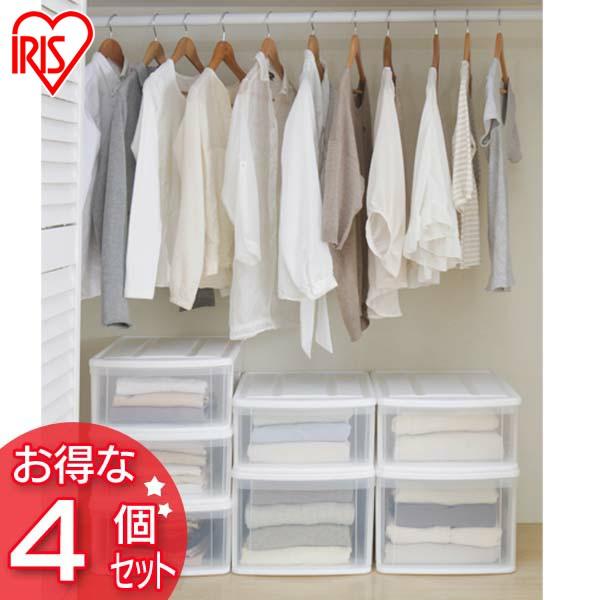 ◆高品質 4個セット チェストI M ホワイト クリア 送料無料 収納 返品送料無料 クローゼット 押入れ 透明 収納ボックス 衣類収納 アイリスオーヤマ一人暮らし