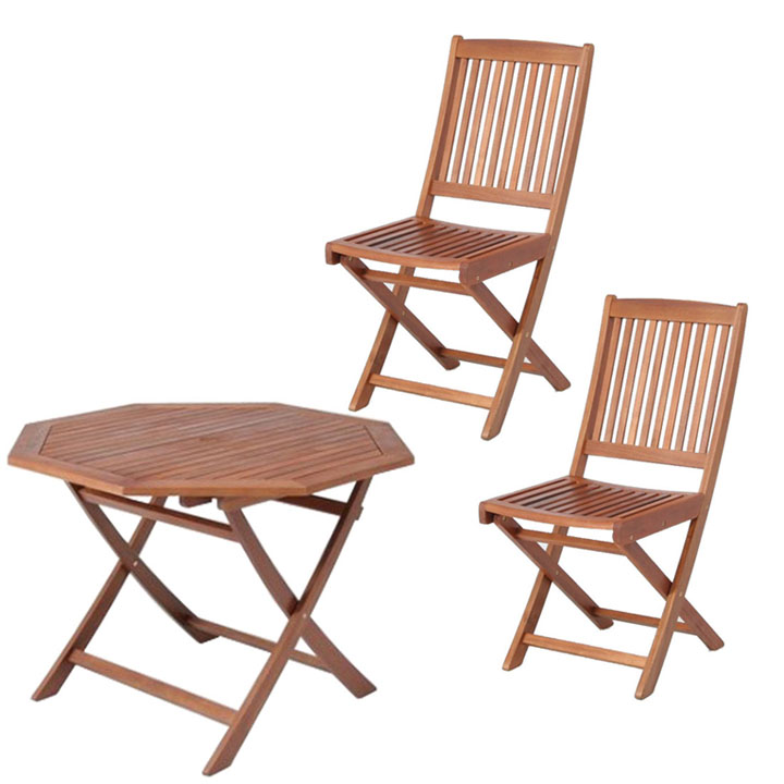 【送料無料】【ガーデンテーブル ガーデンチェア】≪3点セット≫八角テーブル 110cm&フォールディングチェア #GC91JP×2脚【ガーデンファニチャー セット テーブル 椅子 木製】 【D】【FB】