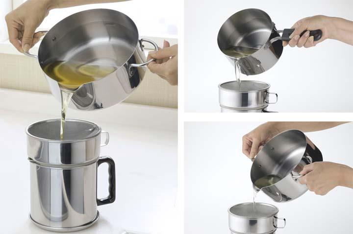 油をきれいに注げる揚げ鍋20cm (温度計付)下村企販 35480