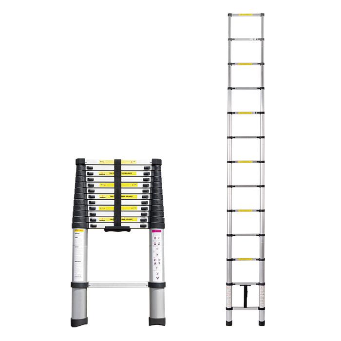 はしご I型 KT380 送料無料 ハシゴ 脚立 梯子 伸縮 アルミ ロック DIY 【TD】 【代引不可】