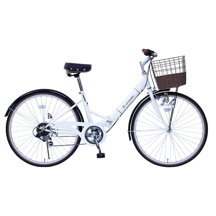 CITROEN シティサイクル FDB266SG バニラホワイト MG-CTN266G送料無料 自転車 カゴ シトロエン 折り畳み 白 コンパクト 通勤 通学 お出かけ ミムゴ 【TD】【B】 【代引不可】