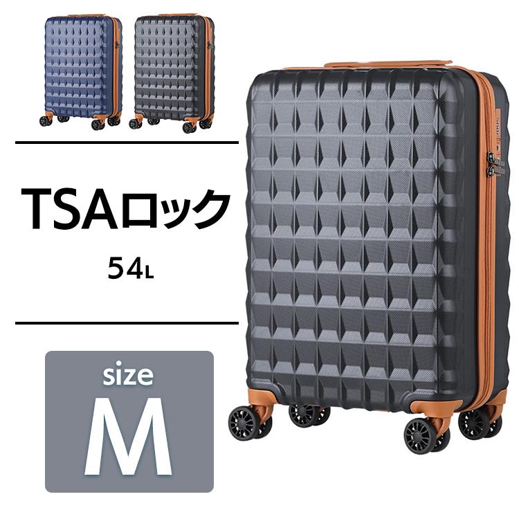 スーツケース 54L 5203-58送料無料 スーツケース キャリーケース キャリー 旅行 ビジネス トラベル 旅行 出張 軽量 軽い ティーアンドエス ブラック ネイビー【D】
