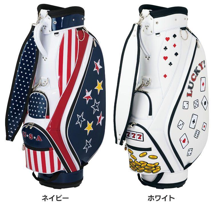 キャスコ キャディバッグ USA-001送料無料 キャディバッグ ゴルフバッグ 個性的 USA カジノ 星条旗 kasko LUCKY メンズ キャスコ ネイビー ホワイト【D】