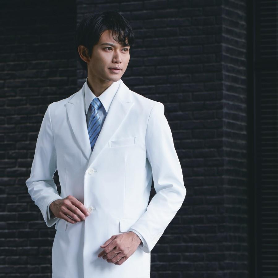 ドクターコート KZN209 メンズ シングル 長袖 制菌 制電 吸汗 ストレッチ 透け防止 白衣 診察衣 医療 メディカル KAZEN MEDICAL