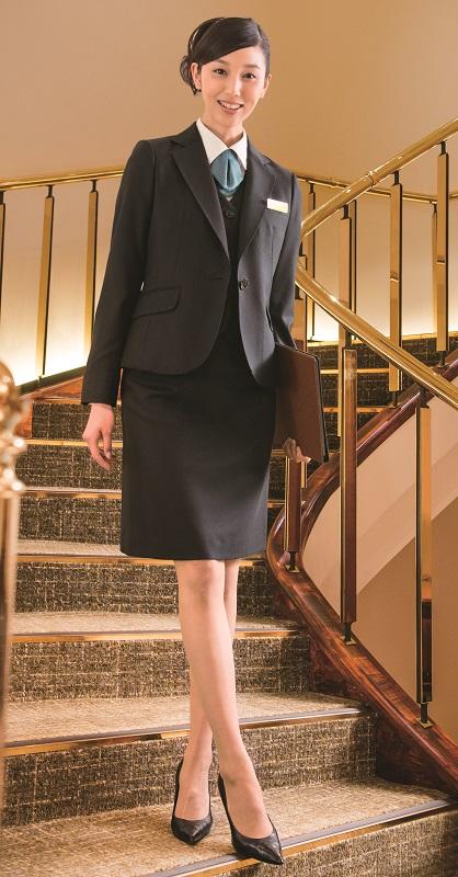 スカート ROPE STYLE R853 ミニヘリンボーン 5号~19号 セミタイト JUNとのコラボ オフィス 受付 接客 ホテル ハネクトーン HANECTONE