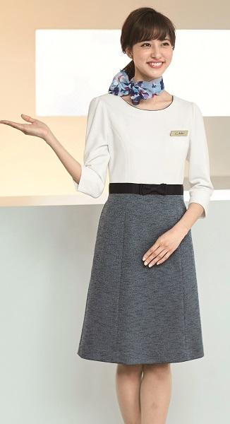アンジョア ワンピース 61750 5号-15号 オールシーズン オフィス 事務服 制服 en joie
