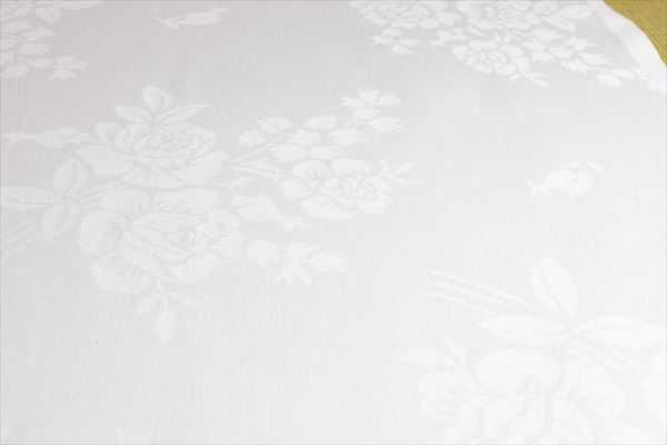 テーブルクロス 白 バラ柄 野ばら160×270 5枚 プロ仕様 ケータリング イベント 会議 レストラン 飲食店 おもてなし