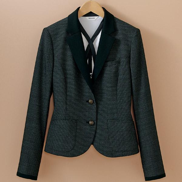 テーラードカラーのブラック配色がエレガントなジャケット♪ 事務服 ジャケット S-24600 S-24607 ツイーディーバーズアイ セロリー