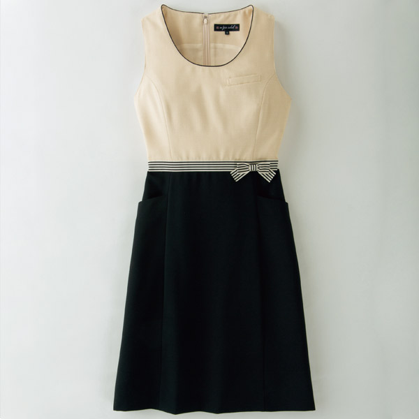 事務服 春夏ジャンパースカート 66370 ミルクティーツイード アンジョア en joie