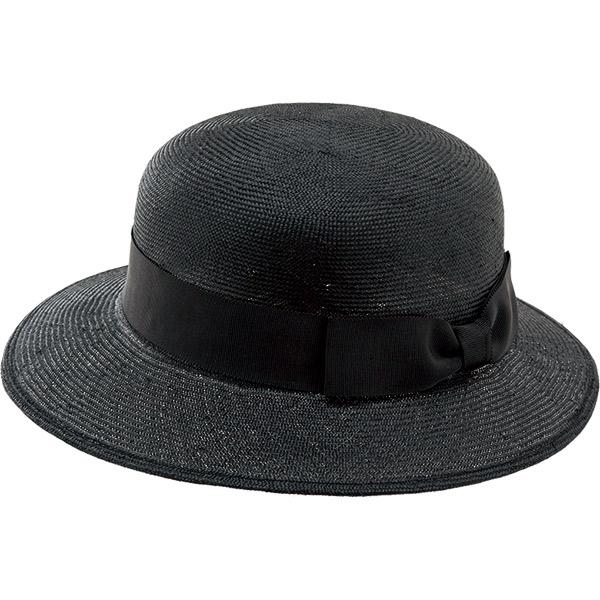 夏のブラック帽子は麦わらタイプで、涼しくシックに! 事務服 春夏帽子 OP108 アンジョア en joie