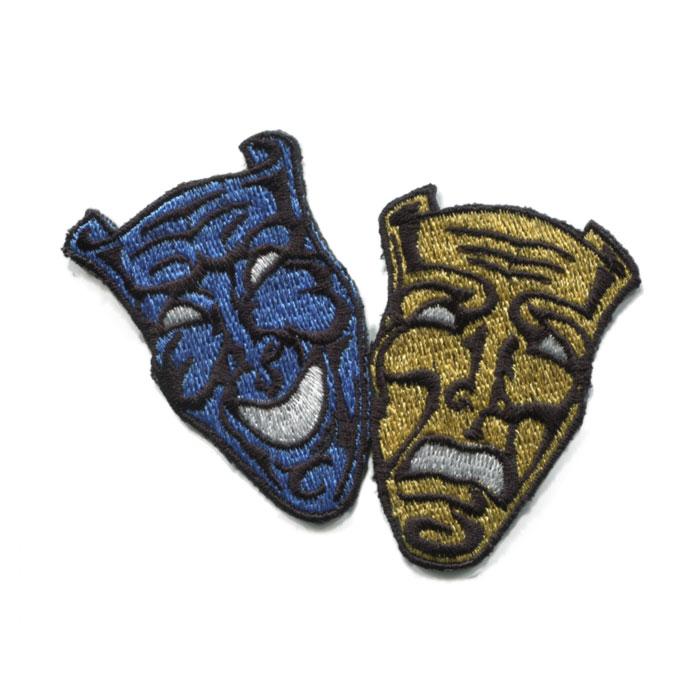 完売 超人気 大人気輸入ワッペン 輸入ワッペン〔1947-two face〕ブルー×ゴールド アイロン接着 DM便選択可