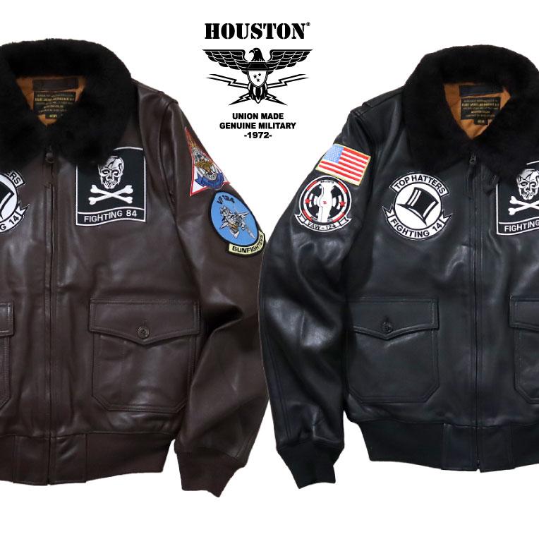 HOUSTON / ヒューストン 8189 PATCH G-1 LEATHER JACKET/パッチ G-1 レザージャケット-全2色-/ミリタリー/アメカジ/MILITARY/ワッペン/リブ/羊革/ムートン/ユニオンネットストア[8189]