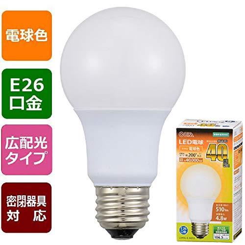 オーム電機 LED電球 40形相当 国内正規総代理店アイテム 510lm 電球色 E26 AG53 un バーゲンセール 密閉形器具対応 広配光200° LDA5L-G