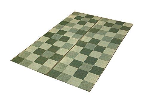 イケヒコ い草ラグ カーペット 国産 『Fブロック2』 グリーン 約140×200cm (裏:ウレタン)[un]