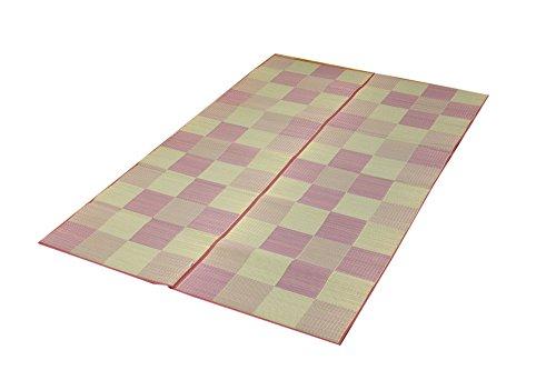 イケヒコ い草ラグ カーペット 国産 『Fブロック2』 ピンク 約140×200cm (裏:ウレタン)[un]