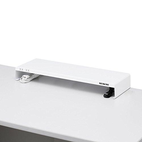 サンワサプライ 電源タップ+USBポート付き机上ラック(W600×D200 ホワイト) MR-LC202W[un]