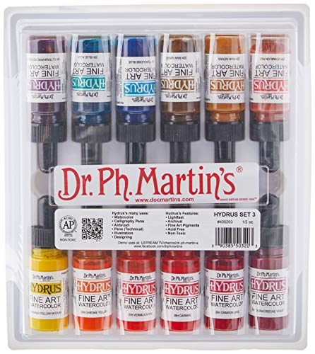 Dr. Ph. Martin's Hydrus Fine Art Watercolor, 0.5 oz, Set of 12 (Set 3)[cb]