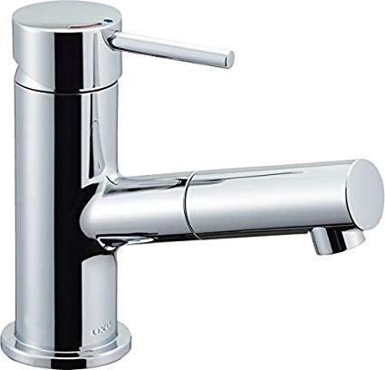 LIXIL(リクシル) INAX 洗面器・手洗器 台付 吐水口引出式シングルレバー混合水栓 eモダン エコハンドル 呼び径13mm 吐水口長さ130mm LF-E345SYC[cb]